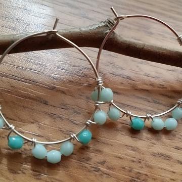 Baby Blues Czech Glass Beaded Hoop Earrings