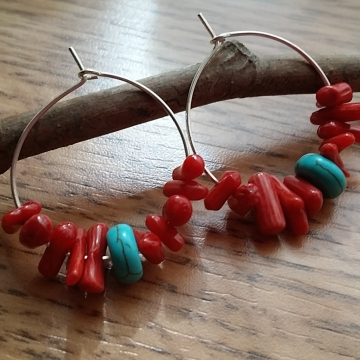 Red Coral and Turquoise Howlite Hoop Earrings