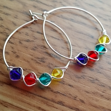 Autism Awareness Swarovski Crystal Hoop Earrings