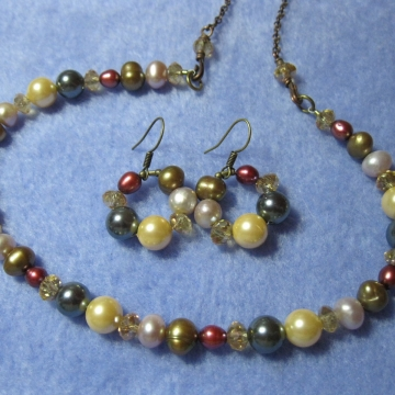 Colorful Pearls and Faceted Glass