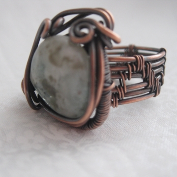 Natural Aquamarine Stone wrapped with Copper Weaving