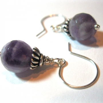 Faceted Amethyst and Sterling Silver Earrings ~ Dainty