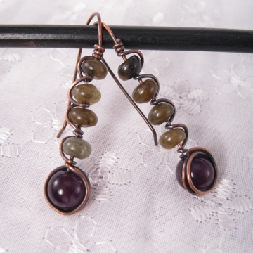 Labradorite and Amethyst Copper Wire-Wrapped Earrings - Stacks