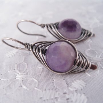 Amethyst and Silver-Filled Wire-Weaved Earrings