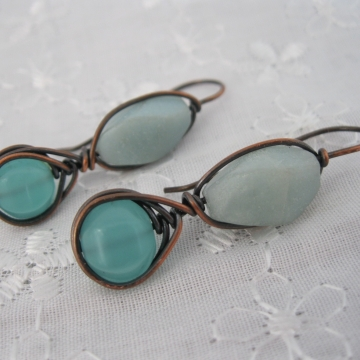 Amazonite and Chalcedony Copper Wire-Wrapped Earrings ~ Blue Dreams