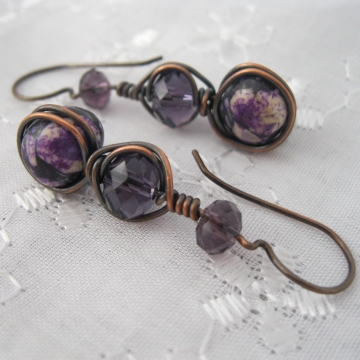 Mosaic Magnesite, Glass Crystals, and Pure Copper Earrings ~ Purple Bliss